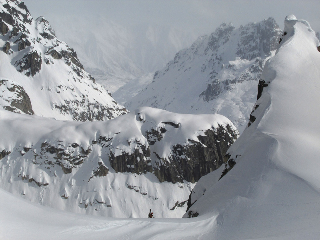 Jim topping out Justice Couloir