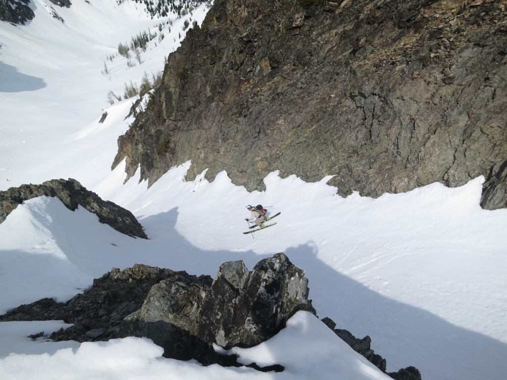 Dropping into the Sogi Couloir Blue Lake North Cascades Washington May 2014