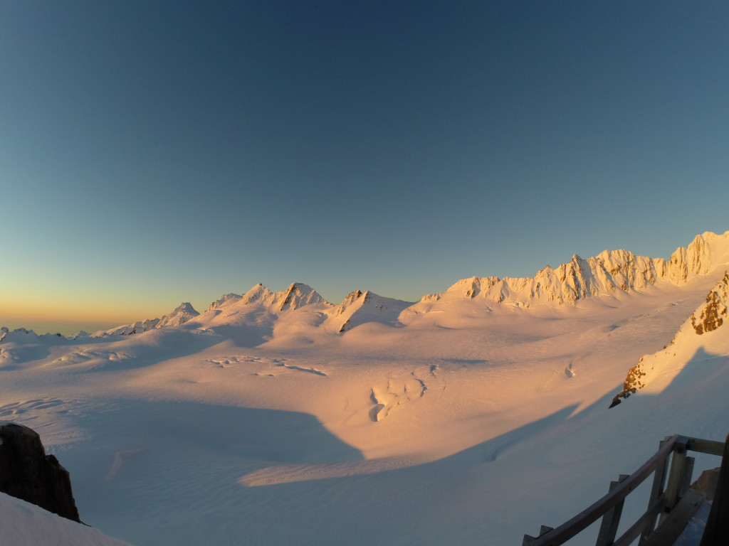 Sunset on Fax Glacier from the Pioneer Hut